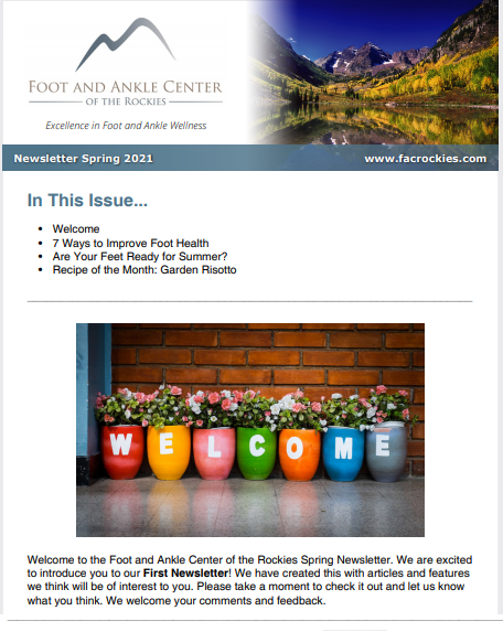 Foot And Ankle Center of The Rockies Spring 2021 Newsletter